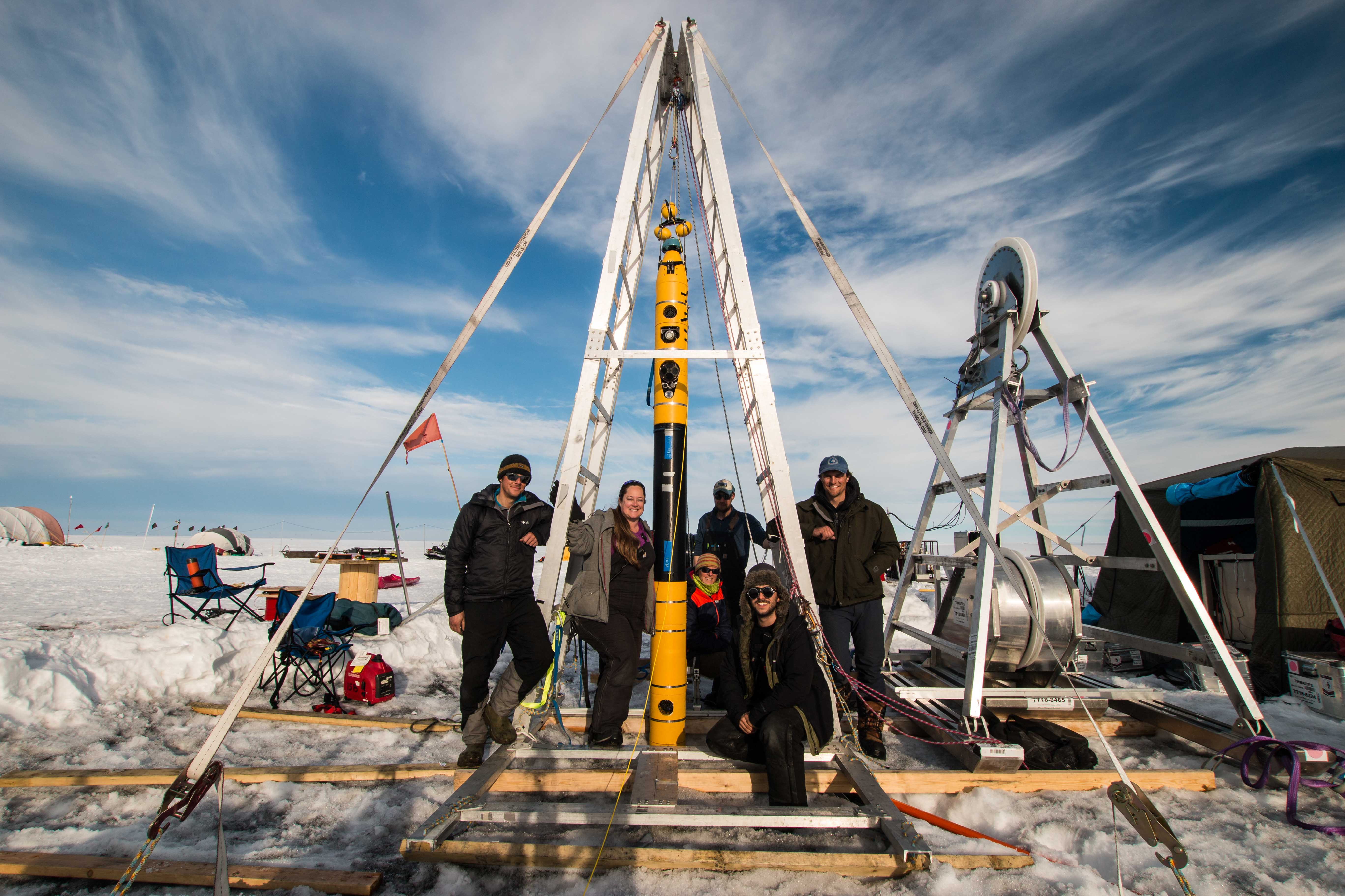 Credit: International Thwaites Glacier Collaboration / Georgia Tech-Schmidt / Dichek  The ITGC team involved in the project using the Icefin autonomous underwater vehicle after its last deployment to the ocean underside of Thwaites Glacier and its grounding line on January 12, 2020.