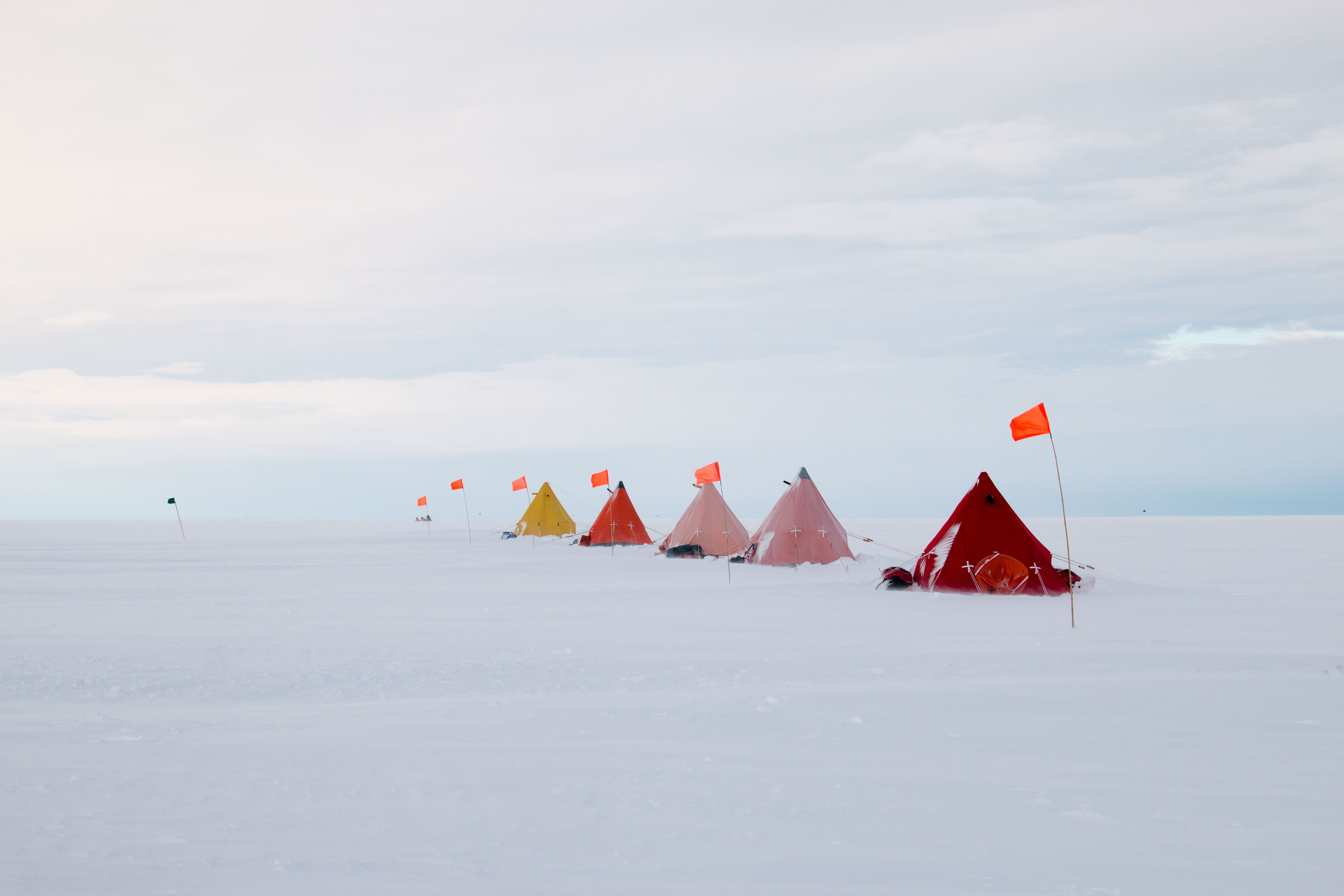 Credit: International Thwaites Glacier Collaboration / Georgia Tech-Schmidt / Dichek  The research team's camp on Thwaites Glacier hundreds of meters atop the glacier's very critical grounding zone. The crew lived and researched here for two months out in the open in Antarctica.
