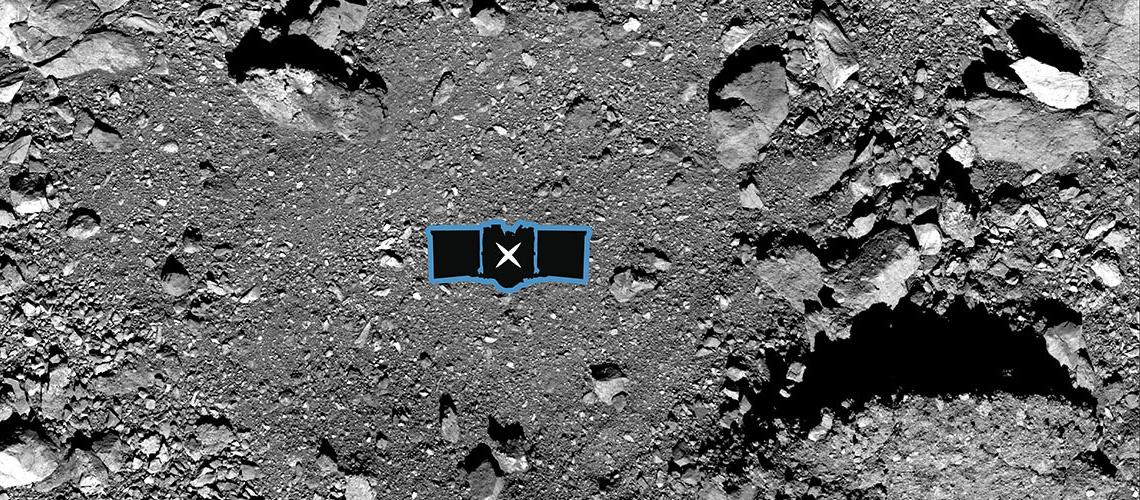 OSIRIS-REx sample site diagram over an image of asteroid Bennu's surface