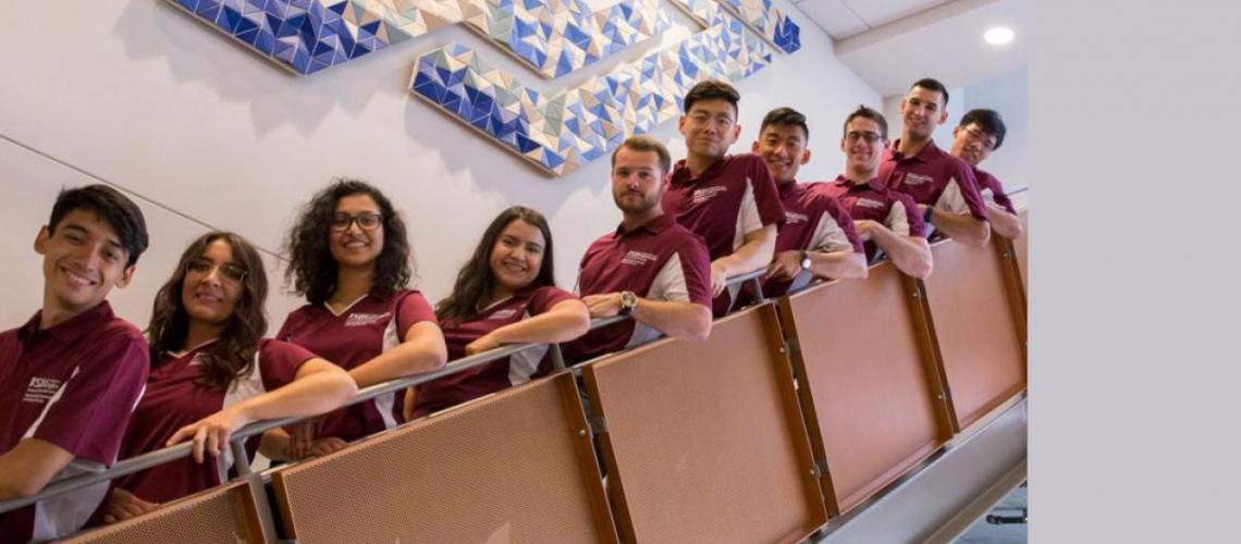 Ava Karanjia (third from left) poses with other Tooker House residential hall peer mentors. In this role she helps first-year students be successful and discover opportunities to explore their interests.  Photographer: Marco-Alexis Chaira/ASU