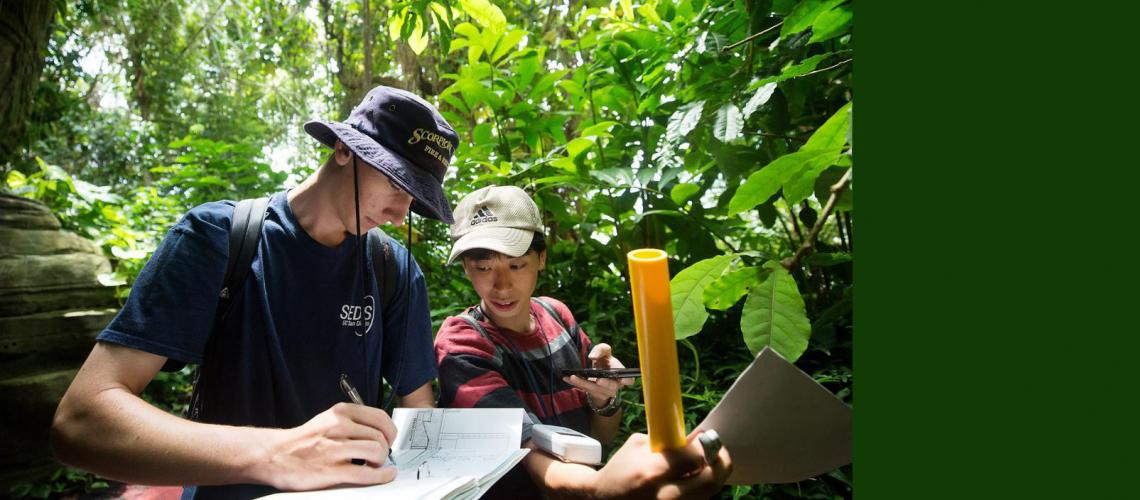 Daniel McConville and Hiroaki Sato participate in Biosphere 2 Space Camp activities.
