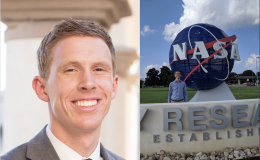 Headshot of Clark Pederson (left) and Clark Pederson standing outside of NASA Langley (right).