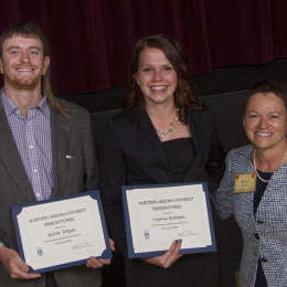 Justin Wilgus, 2014 NAU Space Grant Intern, and Crystae Rohman with NAU President Rita Cheng
