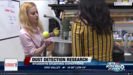 Ruby O'Brien (left) and Reman Almusawi (right) interviewed on KGUN9 in 2019.