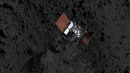 Artist's impression showing the OSIRIS-REx spacecraft descending onto Bennu's surface to collect a sample on Oct. 20. NASA/Goddard/CI Lab