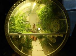Student working in Steklar Lunar Greenhouse