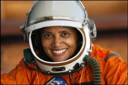 Dr. Sian Proctor in astronaut suit.