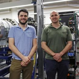 "A grant from the Army Research Office will fund an extension of the Arizona Supersonic Wind Tunnel, making it capable of conducting experiments in transonic conditions. Stuart ""Alex"" Craig (left) and Jesse Little received the funding through the U.S. Department of Defense's Historically Black Colleges and Universities/Minority-Serving Institutions Science Program."