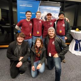 ASU Phoenix CubeSat team at launch (front, left to right): Nicholas Altman, Sarah Rogers and Ryan Fagan. (Back, left to right): Devon Bautista, Craig Knoblauch, Trevor Bautista and Raymond Barakat.  Trevor Bautista/ASU